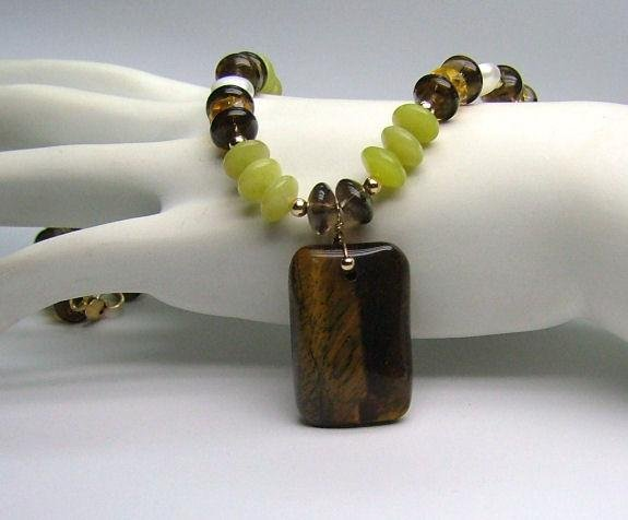 Serpentine, Tiger's Eye, Smoky Quartz, Citrine & Freshwater Cultured Pearls Necklace
