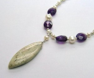 Jasper, Amethyst & Freshwater Cultured Pearl Necklace - 925