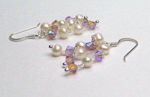 Freshwater Cultured Pearl & Lt Violet Swarovski AB crystal Earrings