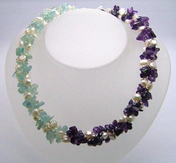 Mermaid ~ Amethyst Aquamarine Freshwater Cultured Pearl 3 strand Twist Necklace