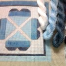 Hand Painted Needlepoint Canvas--Blue Hearts --Kit