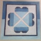 Hand Painted Needlepoint Canvas--Blue Hearts