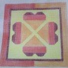 Hand Painted Needlepoint Canvas--Orange Hearts