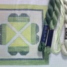 Hand Painted Needlepoint Canvas--Green Hearts--KIT