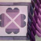Hand Painted Needlepoint Canvas--Purple Hearts --Kit