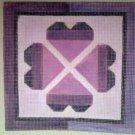 Hand Painted Needlepoint Canvas--Purple Hearts