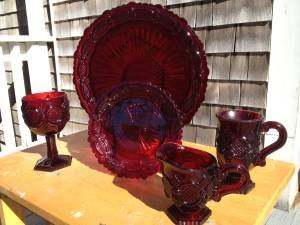 Avon&#039;s 1875 Cape Cod pattern ruby red glass dinnerware