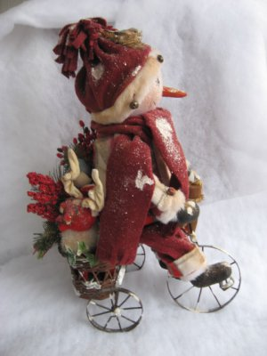 Primitive Snowman Doll Out For a Ride On His Tricycle E-Pattern