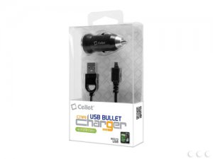 Cellet Bullet Retractable USB Car Charger with Micro USB Cable