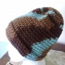 Chocolate Brown Robin's Egg Blue Crochet Hat