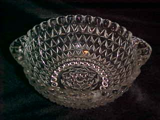 DEPRESSION ERA CLEAR TAB HANDLE PRESSED GLASS BOWL