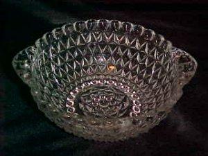 DEPRESSION ERA CLEAR TAB HANDLE PRESSED GLASS BOWL