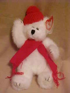 RETIRED TY ATTIC TREASURE FUZZY PEPPERMINT POLAR BEAR