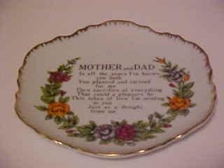 PORCELAIN MOTHER & DAD TRIBUTE POEM PLATE