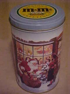 M&M PEANUT CANDY CHRISTMAS COLLECTIBLE ADVERTISING TIN