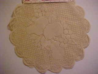 BRAND NEW PAIR 2 ECRU TAN LACE 16 IN ROUND FRUIT PATTERN DOILIES