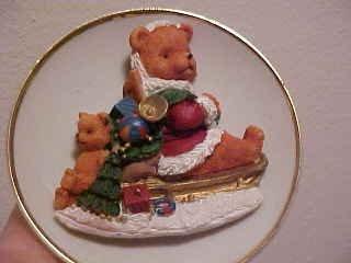PORCELAIN CHRISTMAS 3D SANTA TEDDY BEAR ON SLED W/TOYS PLATE