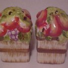 PORCELAIN FIGURAL FRUIT BASKET SALT & PEPPER SHAKERS