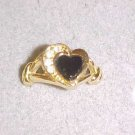 LOVELY GOLD TONE BLACK HEART & CLEAR RHINESTONE RING