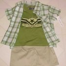 NEW BOYS 12 MO 3 PC OUTFIT GREEN SHIRT T-SHIRT & SHORTS