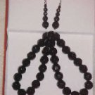 NEW IN BOX BLACK CRYSTAL NECKLACE & PIERCED EARRINGS