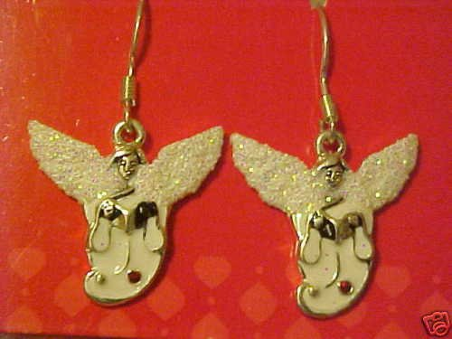 BRAND NEW SILVER GLITTERY ANGEL PIERCED EARRINGS