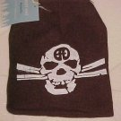 BRAND NEW BROWN GOTH SKULL & CROSSBONES KNIT HAT CAP