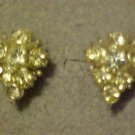 VINTAGE SILVER TONE CLEAR RHINESTONE SCREW EARRINGS