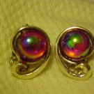 ELEGANT VINTAGE IRIDESCENT DEEP PINK CLIP EARRINGS