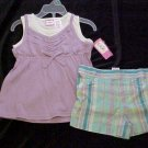 BRAND NEW KIDGETS 2 PC PURPLE WHITE TOP SHORTS SZ 3T