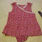 NEW FADED GLORY GIRLS 3-6 MO RED FLOWER DRESS & PANTIES