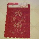 BRAND NEW PAIR 2 RED LACE FLORAL 12x18  DOILY DOILIES