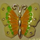 LOVELY ENAMELED METAL RHINESTONE BUTTERFLY PIN BROOCH