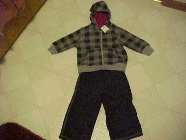 NEW FADED GLORY 18 MO UNISEX SOFT GRAY SWEATSUIT OUTFIT