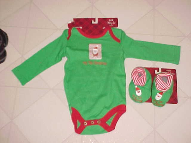 NEW MY 1ST CHRISTMAS SZ 3-6 MO CREEPER ROMPER & BOOTIES