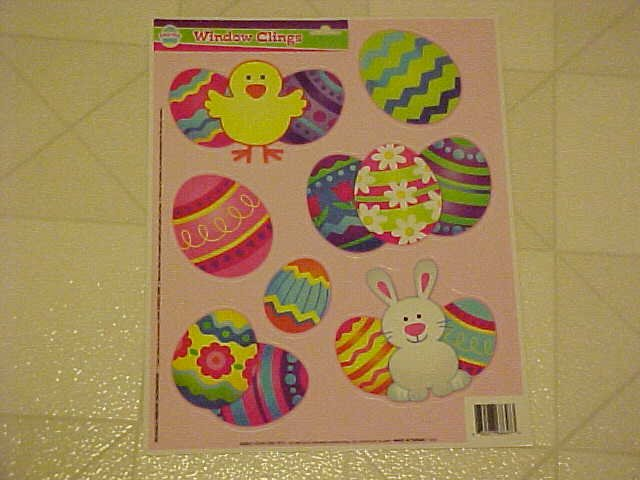 BRAND NEW COLORFUL EASTER BUNNY EGGS WINDOW CLINGS