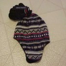 NEW FADED GLORY BLACK WHITE GRAY WINTER HAT & MITTENS