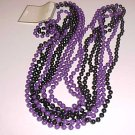 "2 NEW 60"" LONG STRANDS OF BLACK & PURPLE PLASTIC BEADS"