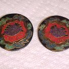 VINTAGE 1980S RED HIBISCUS BLACK PIERCED EARRINGS