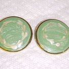 VINTAGE 1980S ENAMELED SEAFOAM GREEN PIERCED EARRINGS