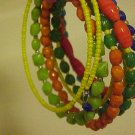 NEW YELLOW GREEN ORANGE BLUE BEAD WRAP BRACELET