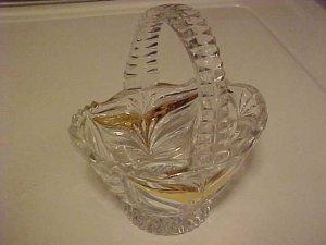 LOVELY CLEAR GLASS BASKET CANDY GILT TRIM ZIPPER EDGE