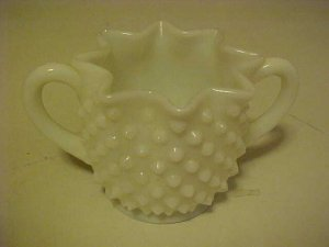 VINTAGE MILK GLASS HOBNAIL RUFFLED RIM SUGAR BOWL
