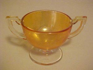 VINTAGE MARYGOLD COLOR CARNIVAL GLASS SUGAR BOWL