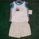BRAND NEW 3-6 MO DISNEY WINNIE THE POOH  SAILBOAT SLEEVLESS TOP & KHAKI SHORTS