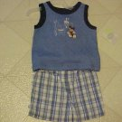 BRAND NEW 3-6 MO DISNEY MICKEY MOUSE SLEEVLESS TOP & PLAID SHORTS