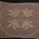 "VINTAGE NEVER USED BEAUTIFUL HAND MADE 23"" X 20"" CREAM LEAF PATTERN DOILY"