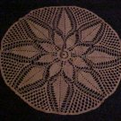 "VINTAGE NEVER USED BEAUTIFUL HAND MADE ROUND 26"" ECRU SNOWFLAKE PINEAPPLE DOILY"