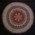"VINTAGE NEVER USED BEAUTIFUL HAND MADE ROUND 21"" PEACH & IVORY SNOWFLAKE DOILY"