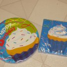 BRAND NEW VANILLA CUPCAKE W/SPRINKLES PATTERN PAPER PLATES & NAPKINS PARTY SET